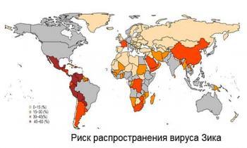 Карта риска распространения вируса Зика по странам мира
