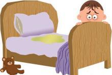 На рисунке: у ребёнка ночной энурез