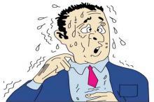 сильное потоотделение у мужчины в пиджаке и галстуке
