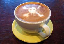 Можно ли умереть от кофе - череп на кофейной пенке